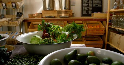 Close-up of vegetables in utensil at supermarket 4k Live Action