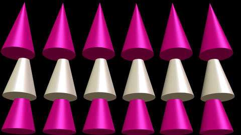 Thanks inscription animated with pink and beige cones on black background, 3d Animation