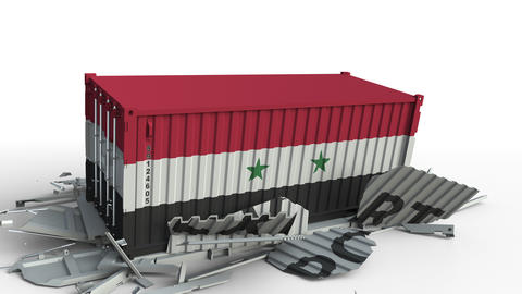 Container with EXPORT text being crashed with container with flag of Syria Live Action