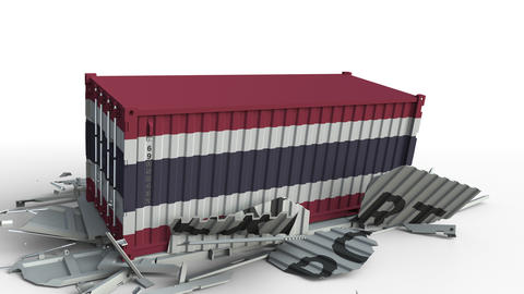 Container with flag of Thailand breaking container with EXPORT text. Conceptual Live Action