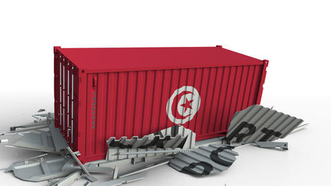 Container with flag of Tunisia breaking container with EXPORT text. Conceptual Live Action