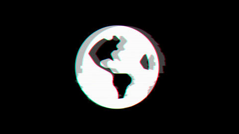 From the Glitch effect arises globe americas symbol. Then the TV turns off. Alpha channel Animation