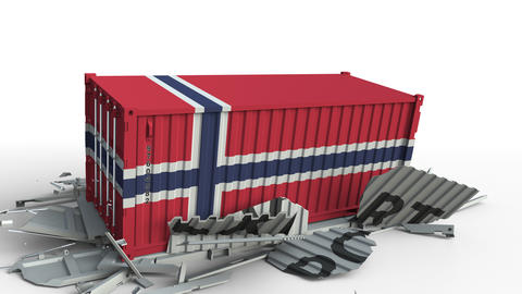 Container with flag of Norway breaking container with EXPORT text. Conceptual 3D Live Action