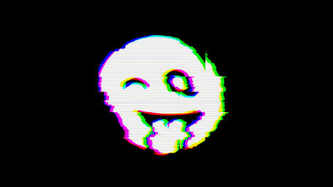 From the Glitch effect arises grin tongue wink symbol. Then the TV turns off. Alpha channel Animation
