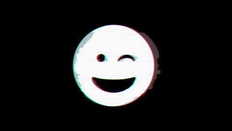 From the Glitch effect arises grin wink symbol. Then the TV turns off. Alpha channel Premultiplied - Animation