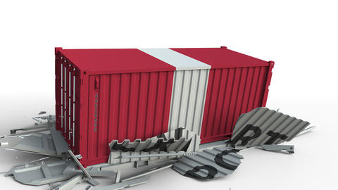 Cargo container with flag of Peru breaks container with EXPORT text. Conceptual Live Action