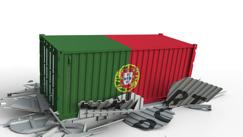 Cargo container with flag of Portugal breaks container with EXPORT text Live Action