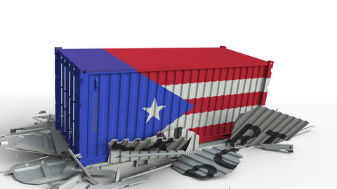 Cargo container with flag of Puerto rico breaks container with EXPORT text Live Action