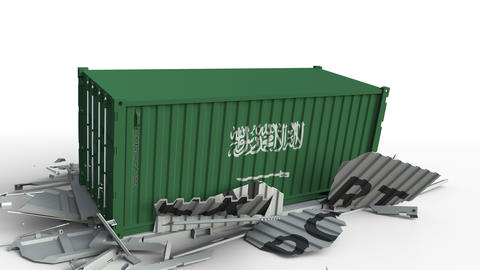 Container with EXPORT text being crashed with container with flag of Saudi Live Action