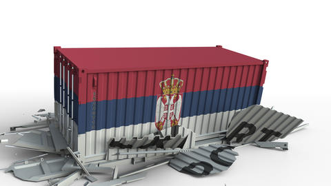 Container with flag of Serbia breaking container with EXPORT text. Conceptual 3D Live Action