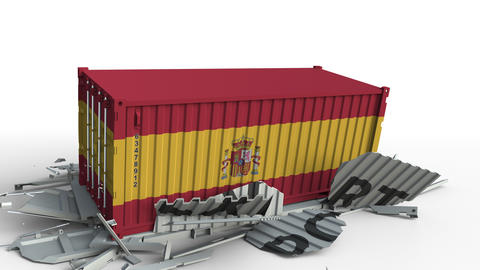 Container with EXPORT text being crashed with container with flag of Spain Live Action