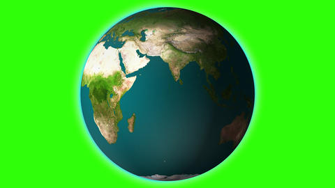 Realistic earth spinning with green screen Animation