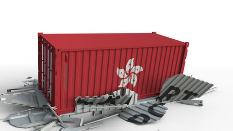 Cargo container with flag of Hong Kong breaks container with EXPORT text Live Action