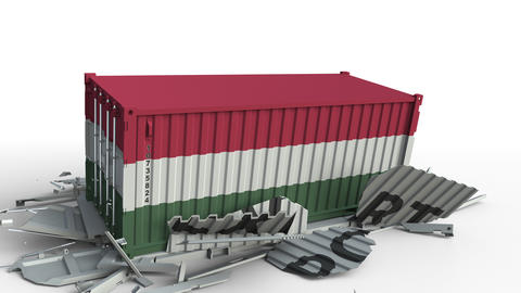 Cargo container with flag of Hungary breaks container with EXPORT text Live Action