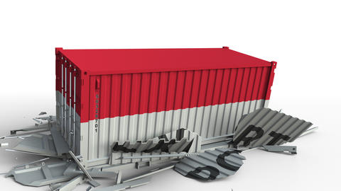 Cargo container with flag of Indonesia breaks container with EXPORT text Live Action