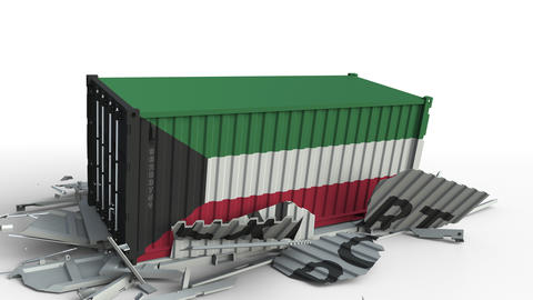Container with EXPORT text being crashed with container with flag of Kuwait Live Action