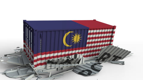 Container with EXPORT text being crashed with container with flag of Malaysia Live Action