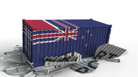 Container with flag of New zealand breaking container with EXPORT text Live Action