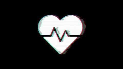 From the Glitch effect arises heartbeat symbol. Then the TV turns off. Alpha channel Premultiplied - Animation