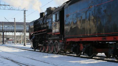 steam locomotive at station Live Action