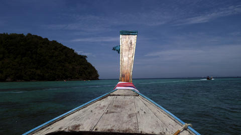 Traditional Wooden Longtail Boat Nose. Front View. Travel near the Phi Phi GIF