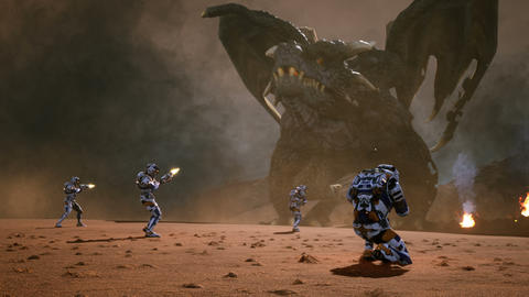 Astronauts against the dragon. Epic battle with explosions, shots and smoke on an uncharted planet Animation