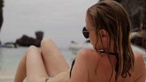 Sexy Girl in swimsuit on the Paradise Tropical sand Beach Footage
