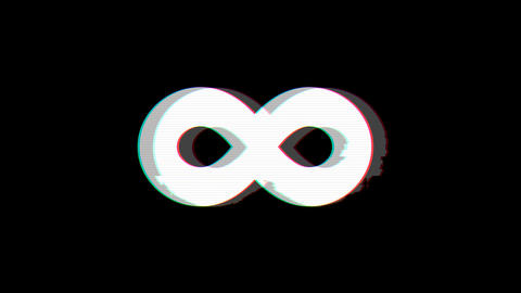 From the Glitch effect arises infinity symbol. Then the TV turns off. Alpha channel Premultiplied - Animation