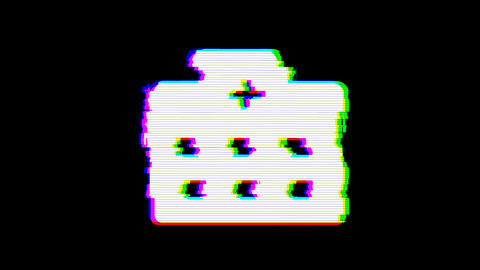 From the Glitch effect arises hospital symbol. Then the TV turns off. Alpha channel Premultiplied - Animation