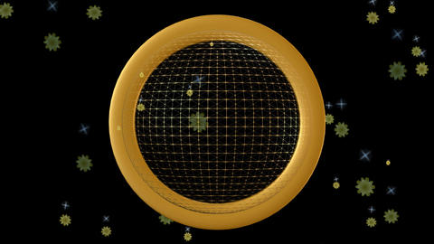 Golden wireframe shpere with rotating ring and moving stars on a black Animation