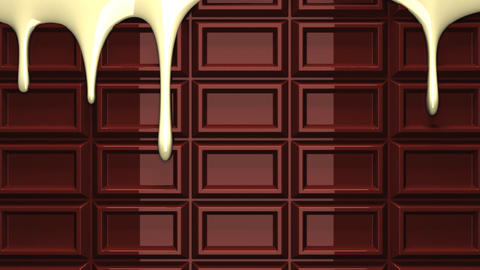 Melting white chocolate on chocolate bar Animation