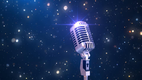 Beautiful Karaoke Background with an Old Fashioned Microphone and Magic Particles Animation