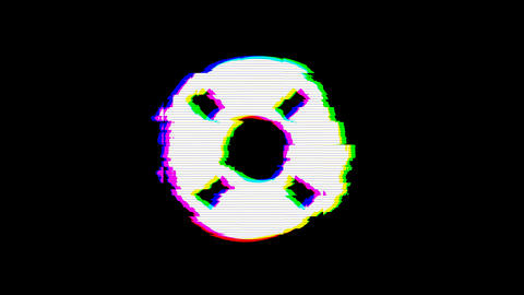 From the Glitch effect arises life ring symbol. Then the TV turns off. Alpha channel Premultiplied - Animation