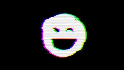 From the Glitch effect arises laugh wink symbol. Then the TV turns off. Alpha channel Premultiplied Animation