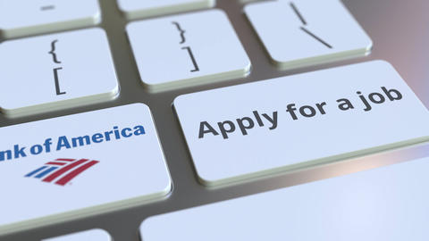 BANK OF AMERICA company logo and Apply for a job text on the keys of the Footage