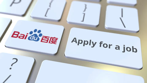 Keyboard with BAIDU company logo and Apply for a job text on the keys. Editorial Footage