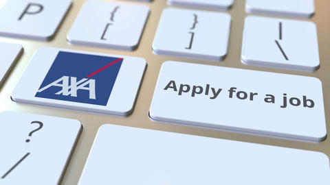 Keyboard with AXA company logo and Apply for a job text on the keys. Editorial Footage