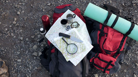 Close up shot of travel equipment in mountain Footage