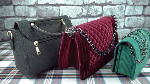 Black, claret and green bags back Footage