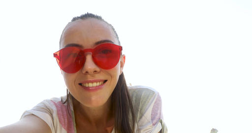 Casual adult woman in modern sunglasses Archivo