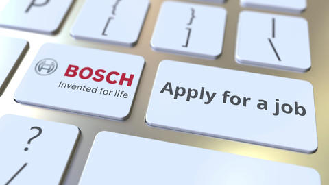 Keyboard with BOSCH company logo and Apply for a job text on the keys. Editorial Live Action