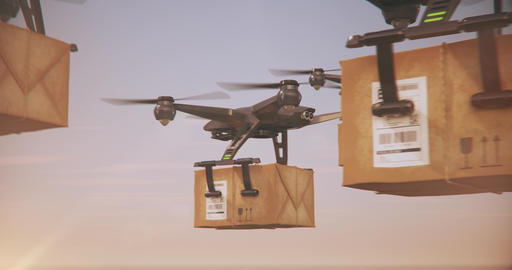 Delivery drones - Group of Quadrocopters delivering packages Animation