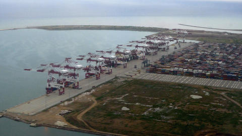 Aerial shot of a containers terminal Footage