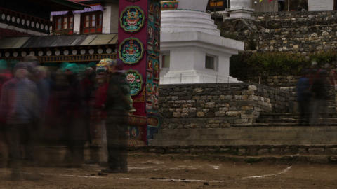 Time-lapse at the entrance to Tengboche Monastery in Nepal. Cropped Footage