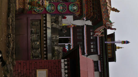 Vertical shot of Time-lapse at the entrance to Tengboche Monastery in Nepal Footage