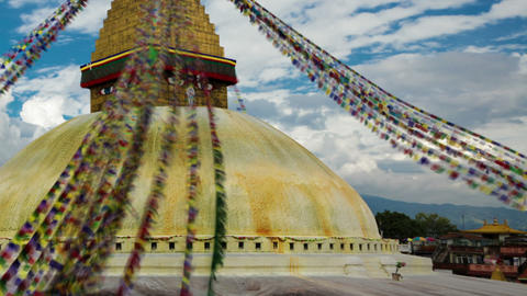 Panning shot of Time-lapse of the top of Boudhanath Stupa in Boudha, Nepal Footage