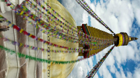 Vertical shot of Time-lapse of Boudhanath Stupa in Boudha, Nepal Footage