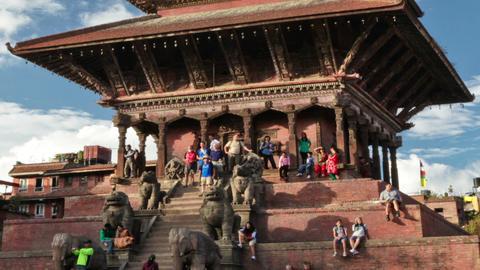 Time-lapse of Nyatapola temple in Bhaktapur, Nepal. Cropped Footage