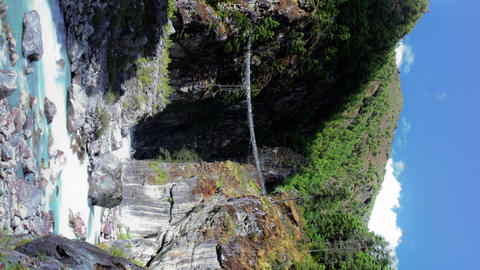 Vertical shot of Time-lapse of a river gorge in a Himalayan valley Footage