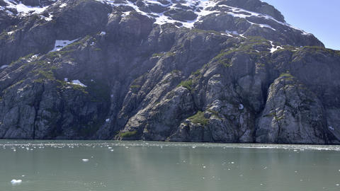 Icy mountain side from Alsek Lake in Glacier Bay Footage